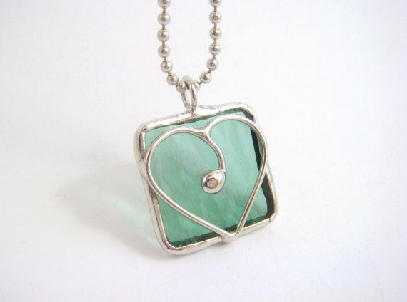 Pale seafoam green heart stained glass square by BelloGlass, $12.00