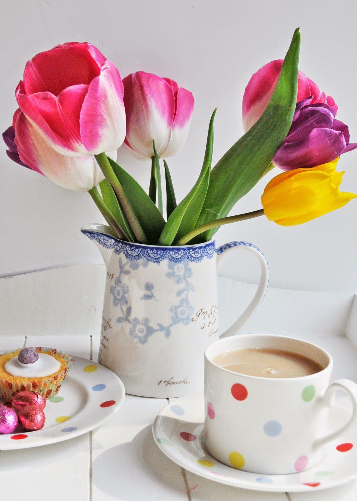 Хорошей, открытка тюльпаны в чашке
