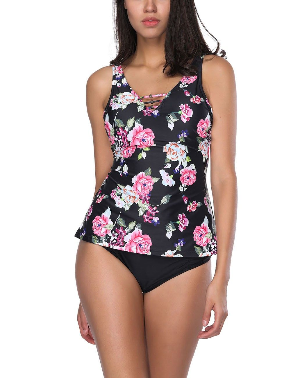 3f2039cdc8197 Floral Swimsuit, Black Swimsuit, Plus Size Swimwear, Two Pieces, Band,  Printed
