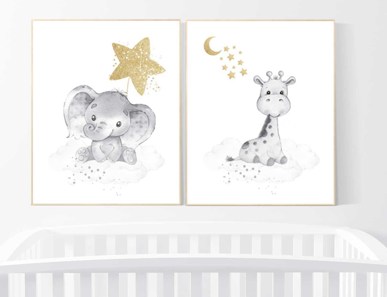 Baby Room Wall Art Gender Neutral Nursery Decor Elephant Giraffe