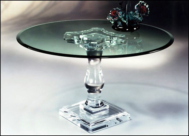 Want Mecox Gardens Round Lucite Glass Dining Table Detail