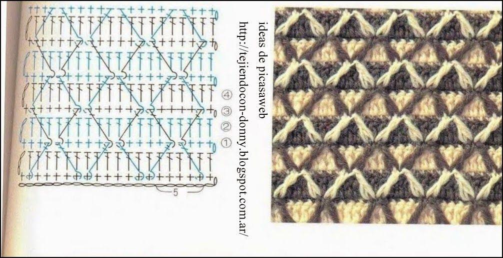 PATRONES - CROCHET - GANCHILLO - GRAFICOS: PUNTOS PARA TEJER ROPA INVIERNO A CROCHET