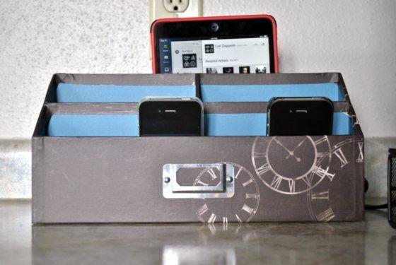 easy diy charging station homemade charging station for. Black Bedroom Furniture Sets. Home Design Ideas