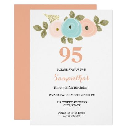 Floral Pretty Peach 95th Birthday Invitation