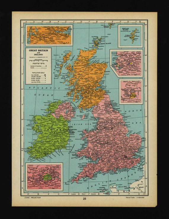 vintage map of great britain ireland scotland british isles from 1944 original on etsy 1400