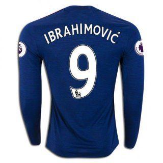 16 17 Manchester United 9 Zlatan Ibrahimovic Long Sleeve Away Jersey Football Shirts Manchester United Football Team Wear