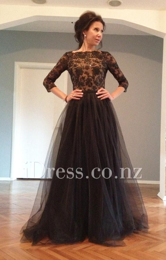 v back black lace bodice and tulle skirt long prom dress. ball ...