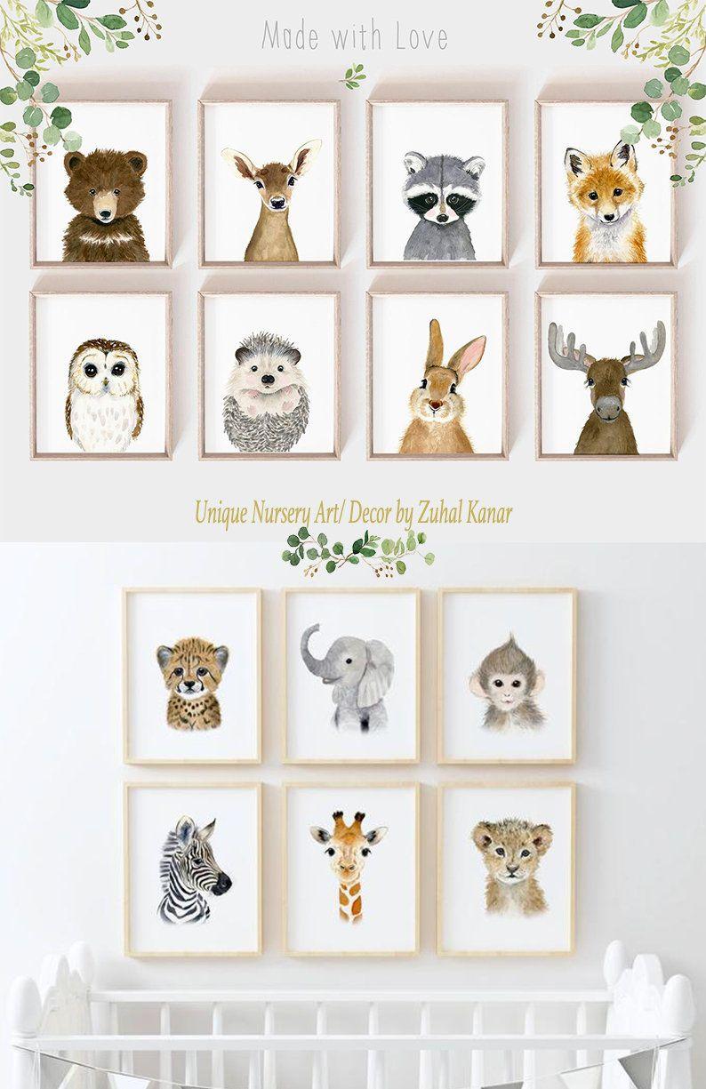 Woodland Nursery Art Print Set Woodland Animals Animal Prints For Nursery Animal Art Set Of 8 Prints Nur In 2020 Animal Baby Room Woodland Nursery Art Nursery Art