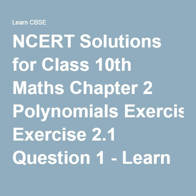 NCERT Solutions for Class 10th Maths Chapter 2 Polynomials Exercise ...