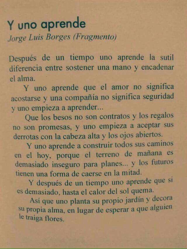 Y Uno Aprende Jorge Luis Borges Quotes Pinterest Luis Borges