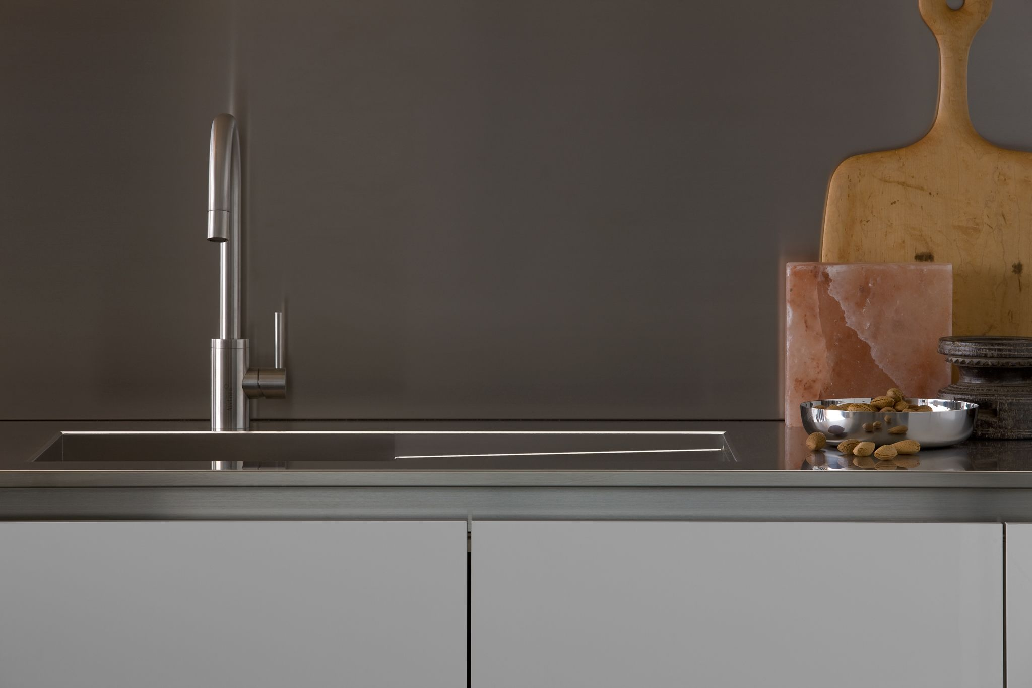 Close-up of the large stainless steel sink. #kitchen #arclinea ...