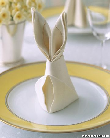 bunny folded napkin for easter