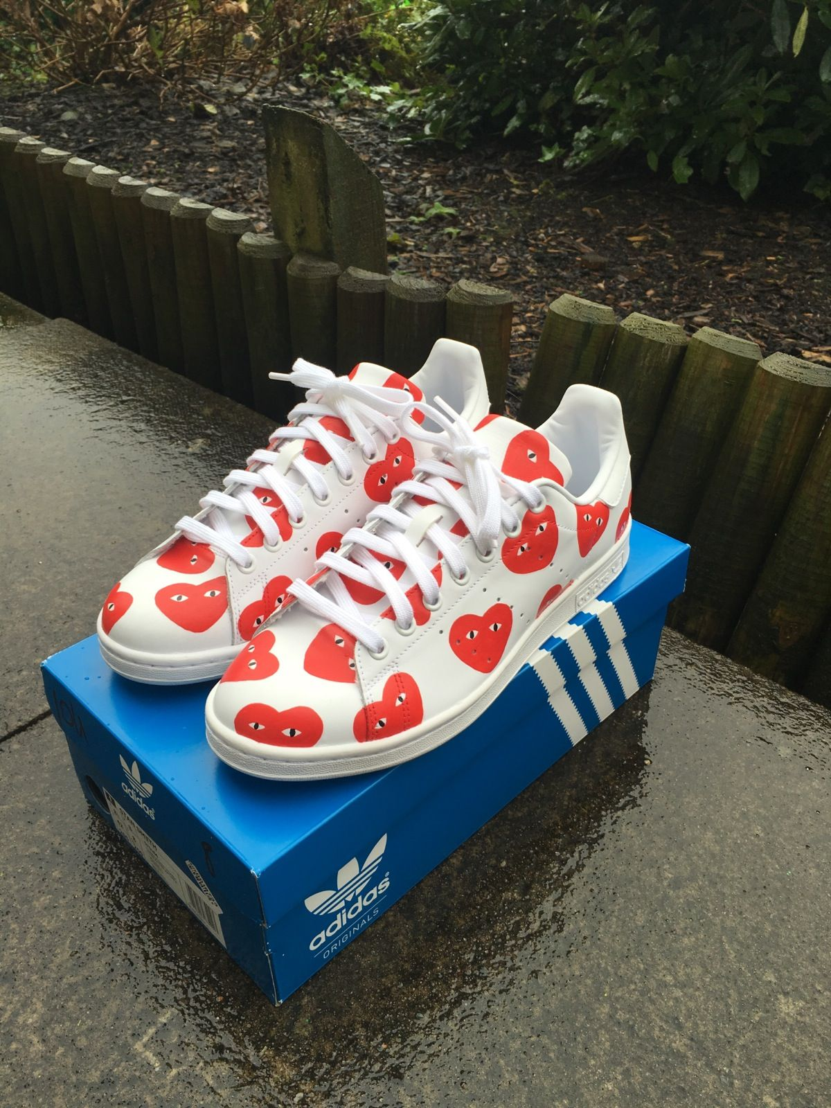 Hand Painted CDG  Adidas Stan Smith .Size chart available in images.All  customs are fully durable and crack resistant.All customs are done on a  first come a8d55d077