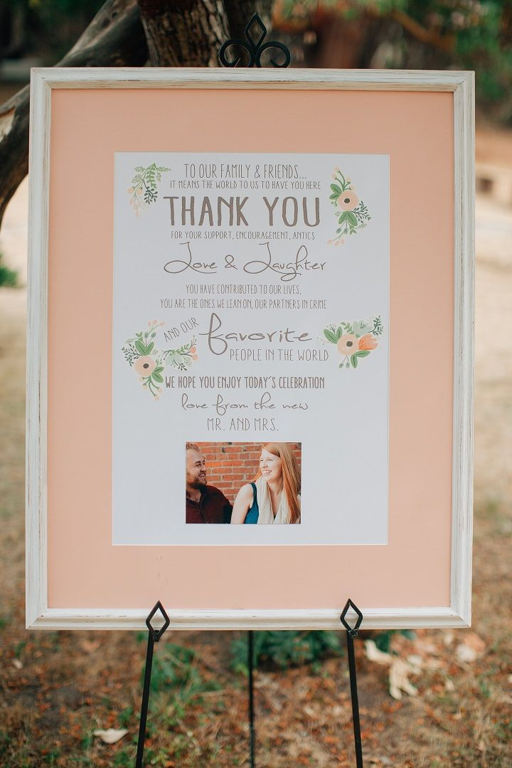 Thank you wedding sign on photo frame