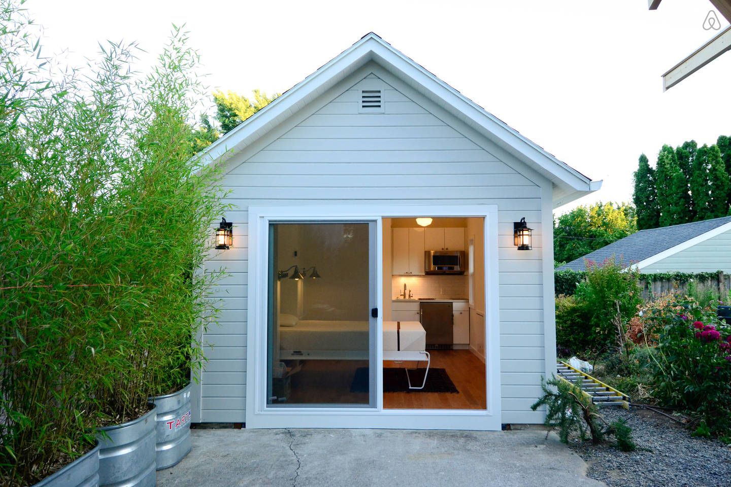 front view of little house detached studio with murphy bed