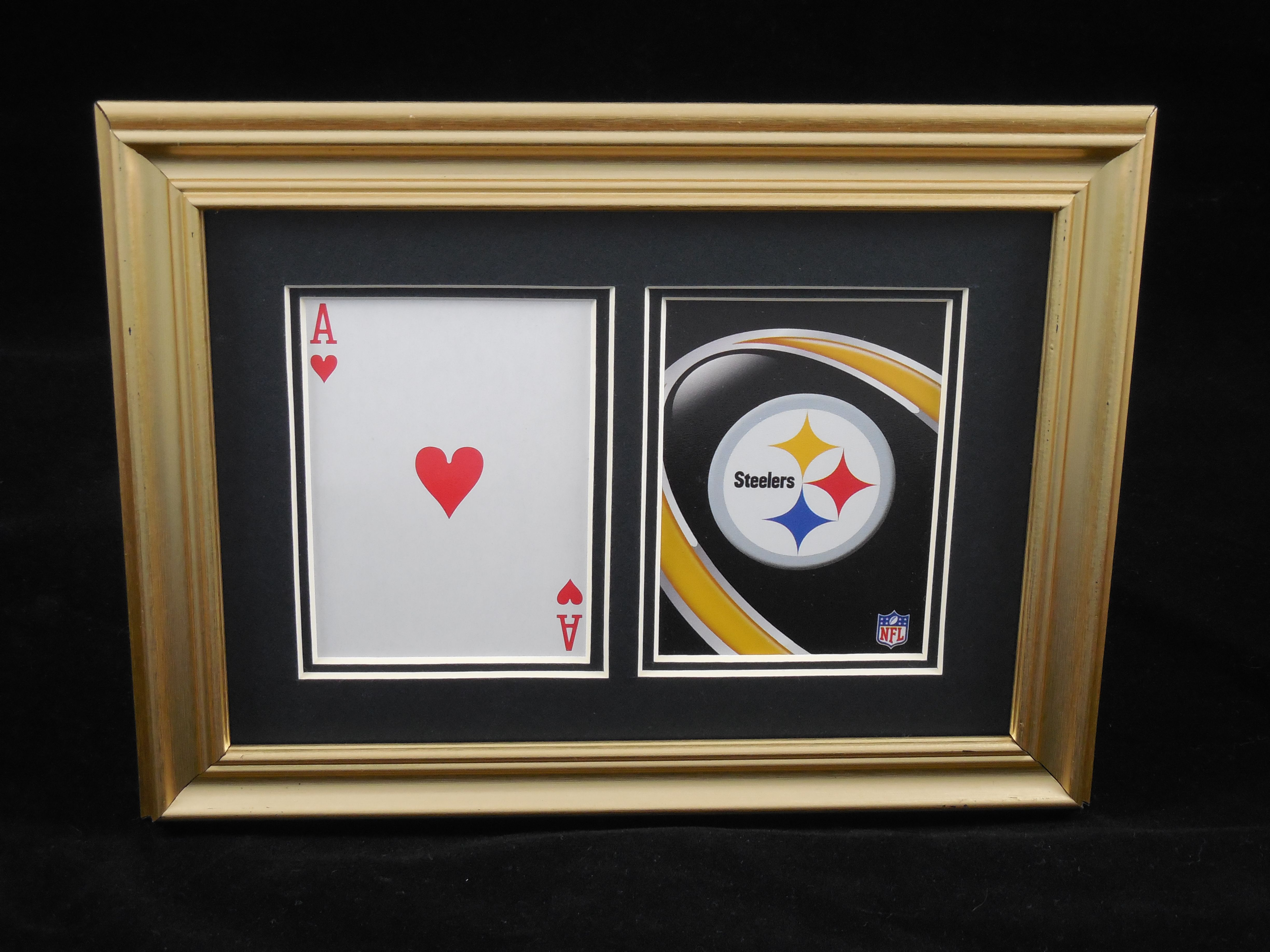 "Pittsburgh Steelers 5x7 ""Blackjack?"" (Hearts) Playing Card Display Available at: https://www.etsy.com/shop/SinCityDisplays"