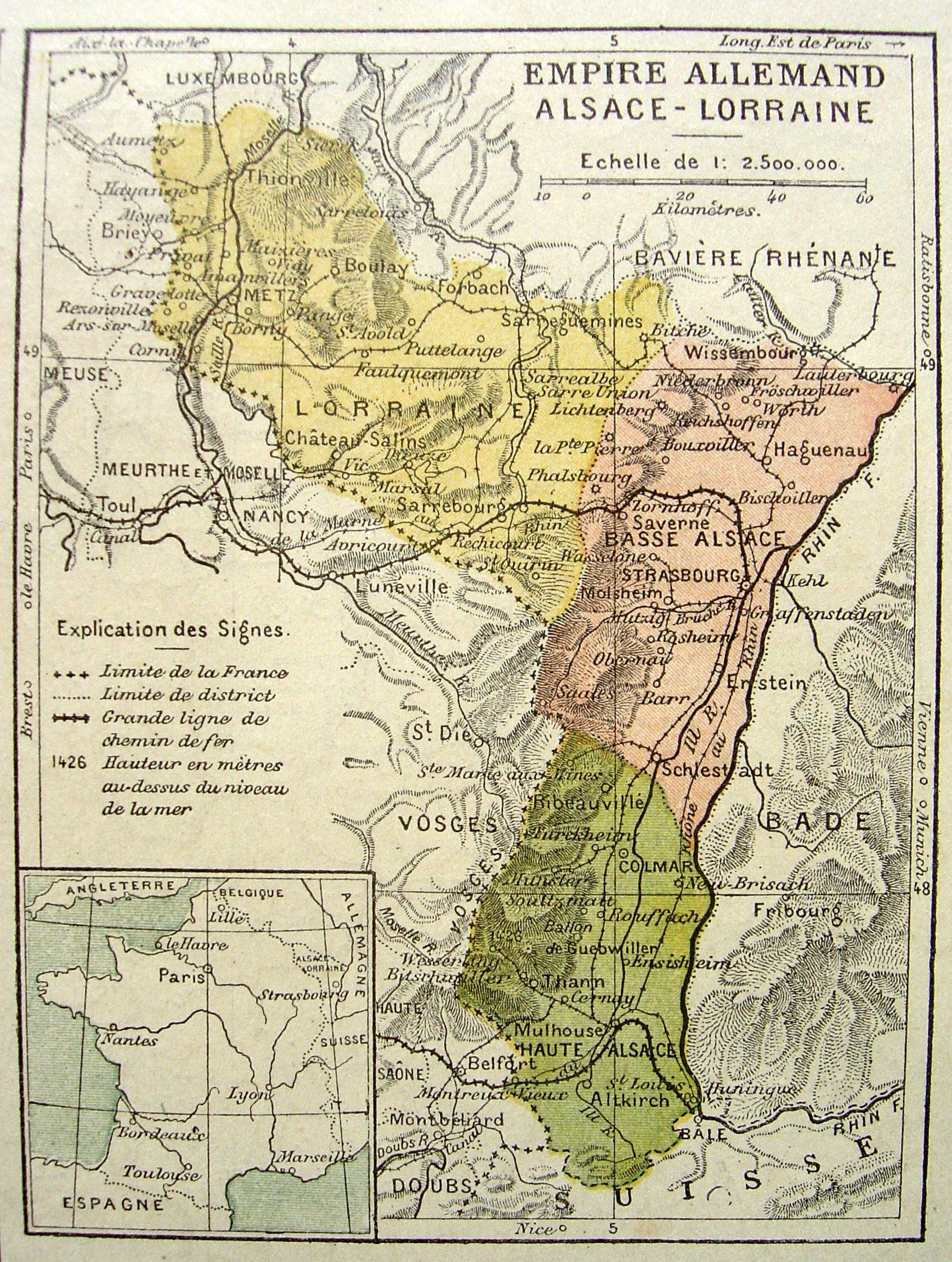 An 1884 French map of the Alsace-Lorraine region, which France and Germany had been warring over ...