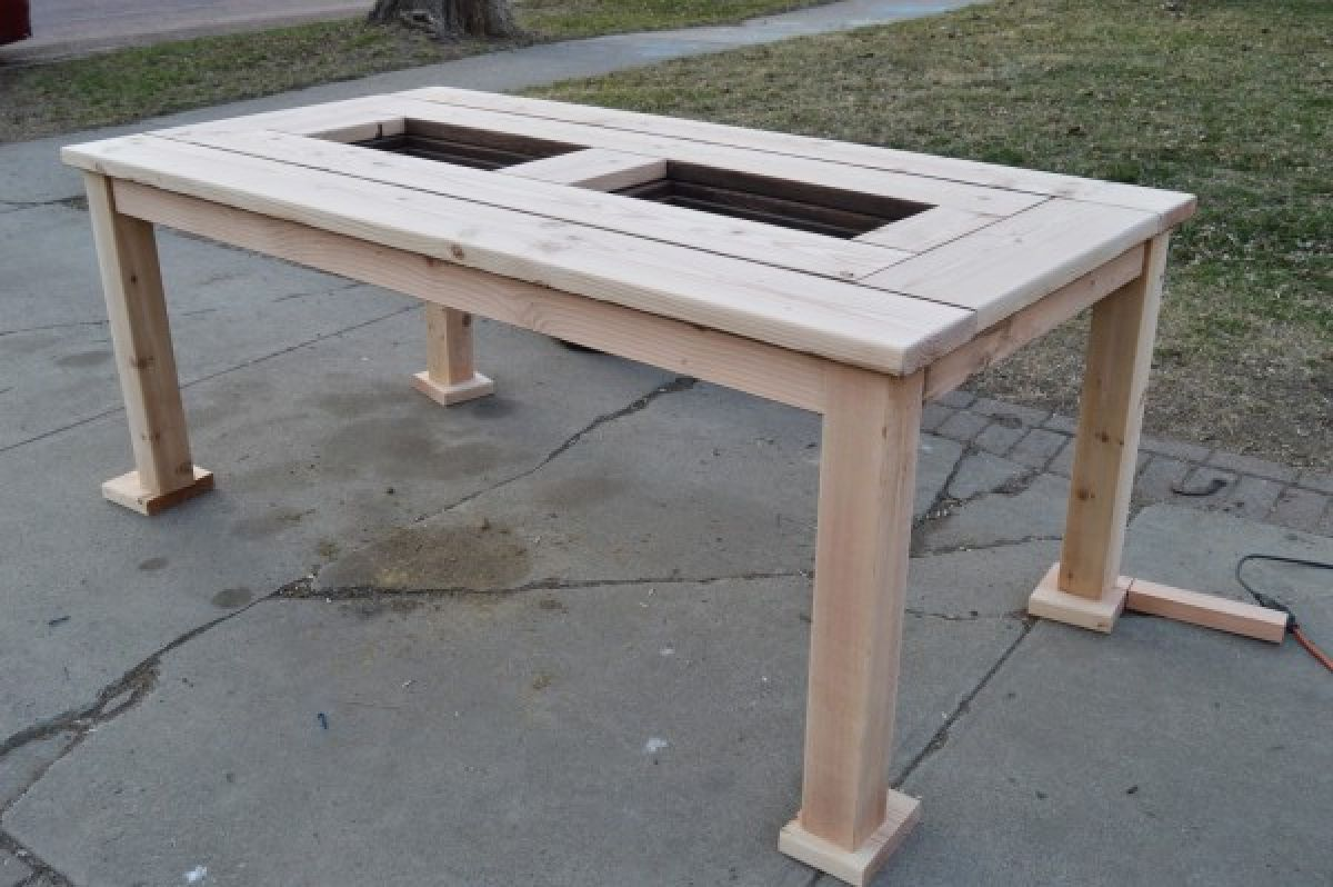 Superb Make Your Own Patio Table With Built In Ice Boxes