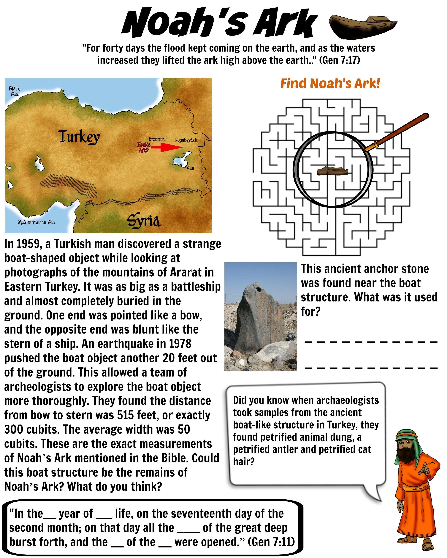 Noah S Ark Evidence Bible Worksheet For Kids