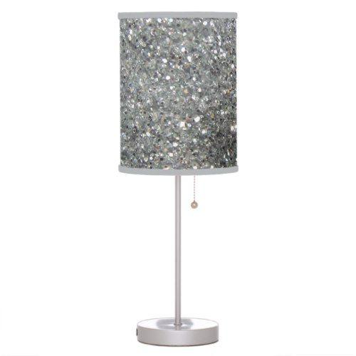 Stylish Silver Glitter Glitz Photo Table Lamp Zazzle Com Glitter Lamp Lamp Chandelier Floor Lamp
