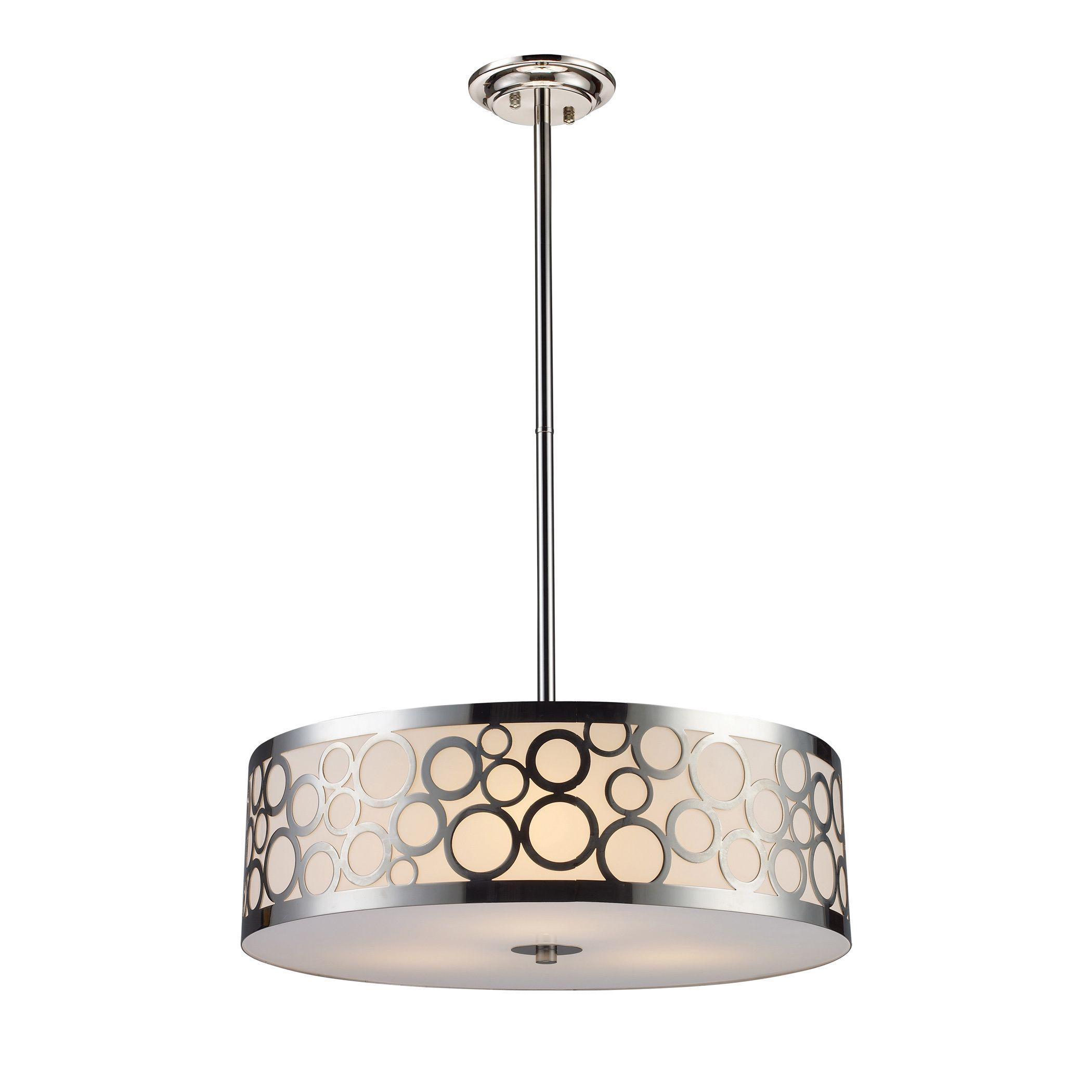 Varying Circular Accents Add Retro Flair To The Retrovia Chandelier Crafted With A Rous Polished Nickel Finish This Beautiful Light Fixture Is