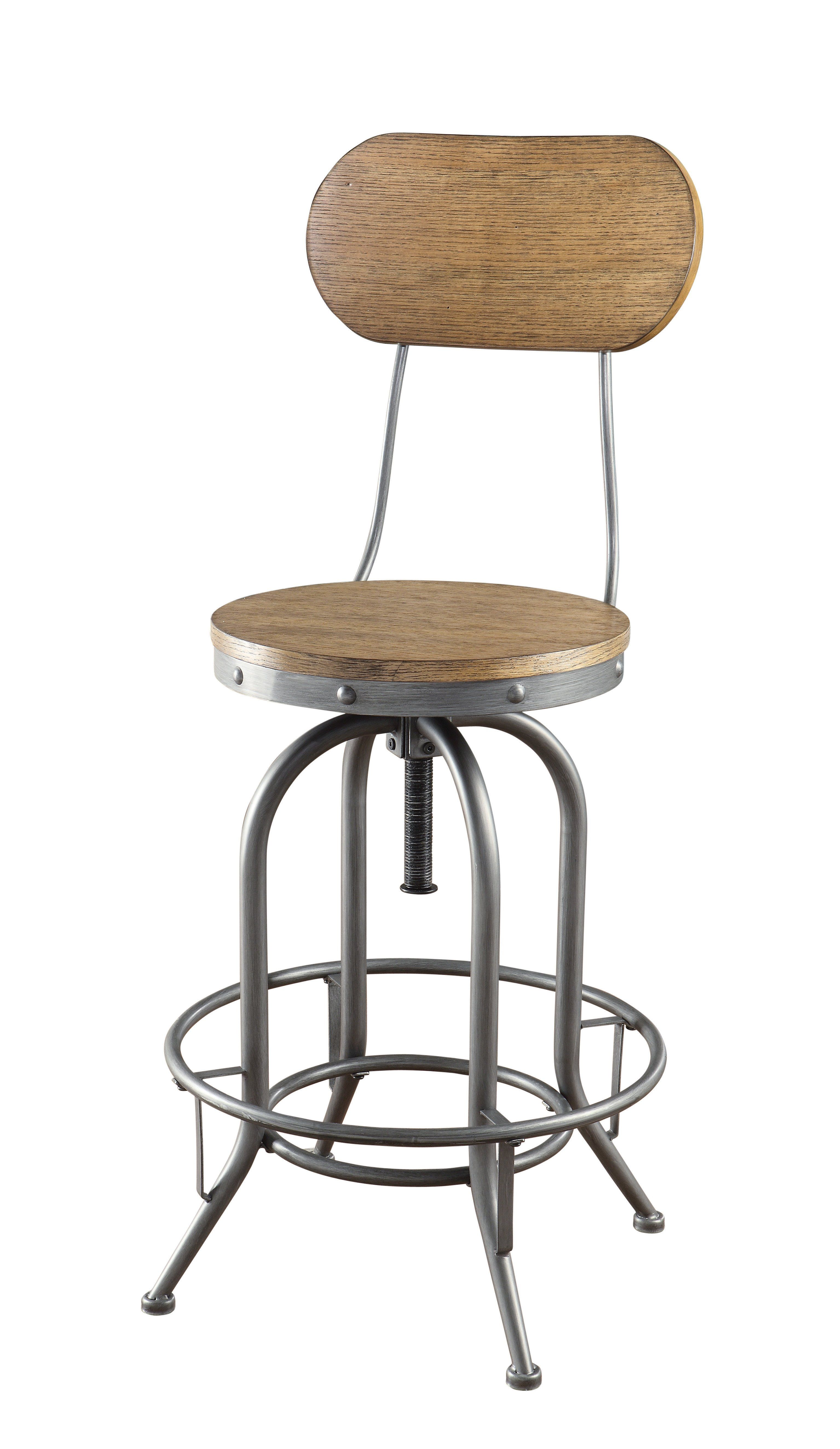 Coaster Adjule Bar Stool With Wood Back And Seat Set Of 2