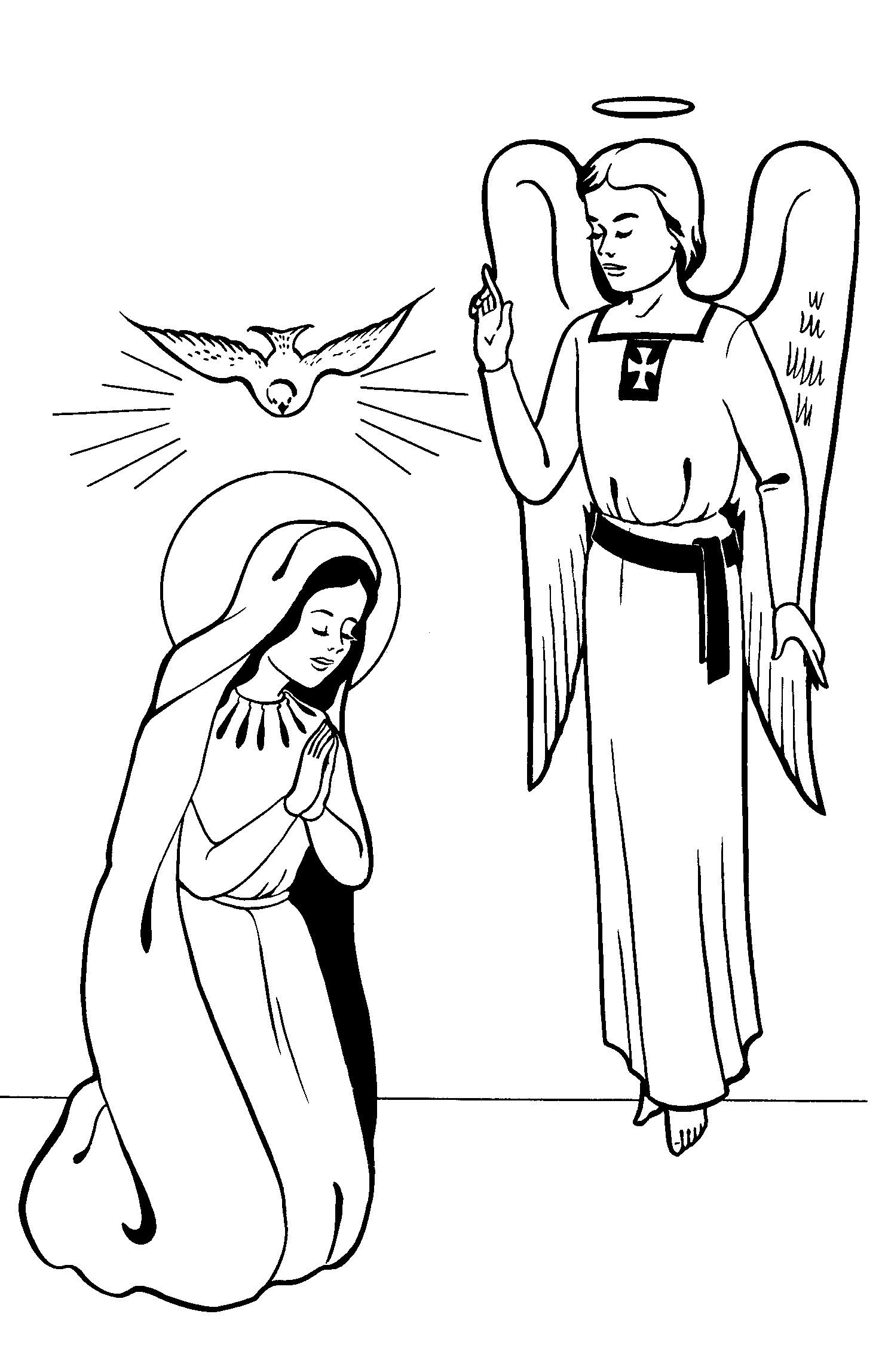 Mary Coloring Pages Printable | angels | Pinterest | Blessed mother mary