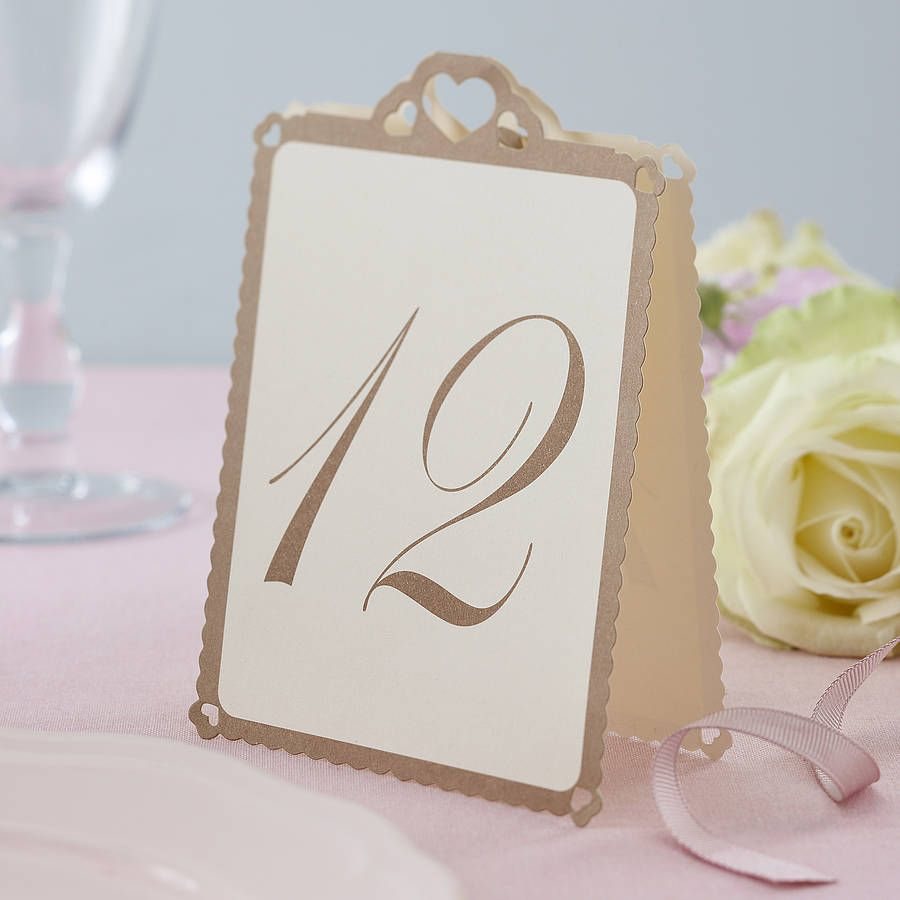 Heart wedding table numbers ivory gold wedding tables for Table number holders