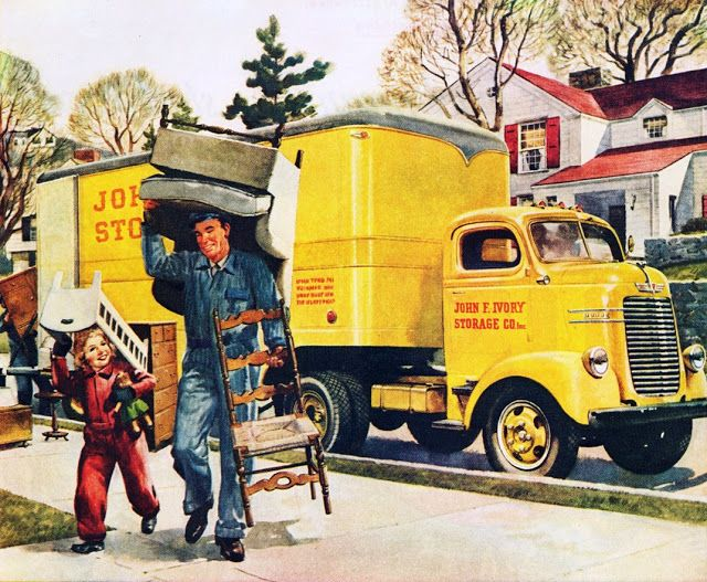 We Re Moving Moving Truck Vintage Trucks Moving Van