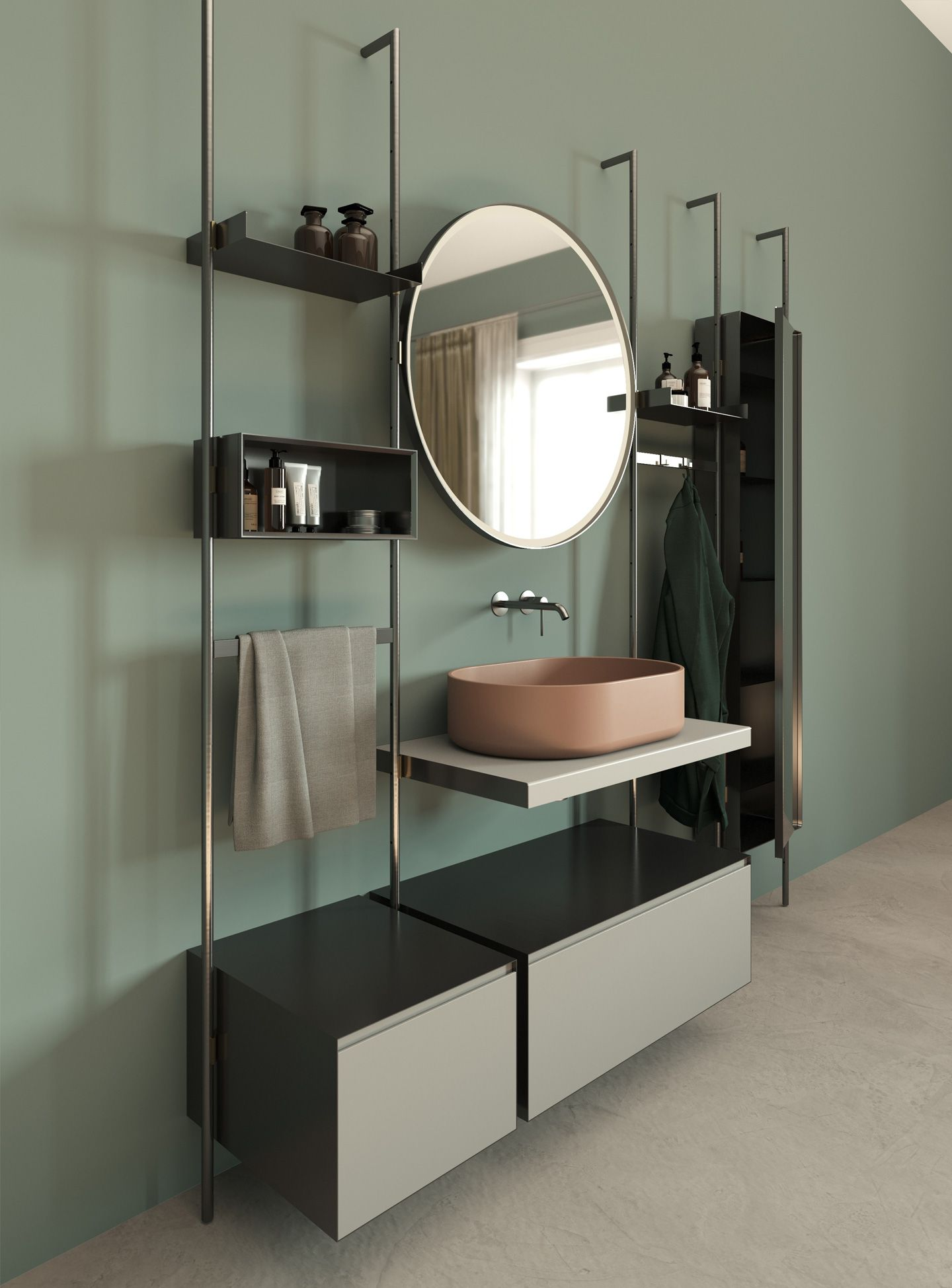 Contemporary Italian Modular Bathroom Vanity Shown In Termocotto