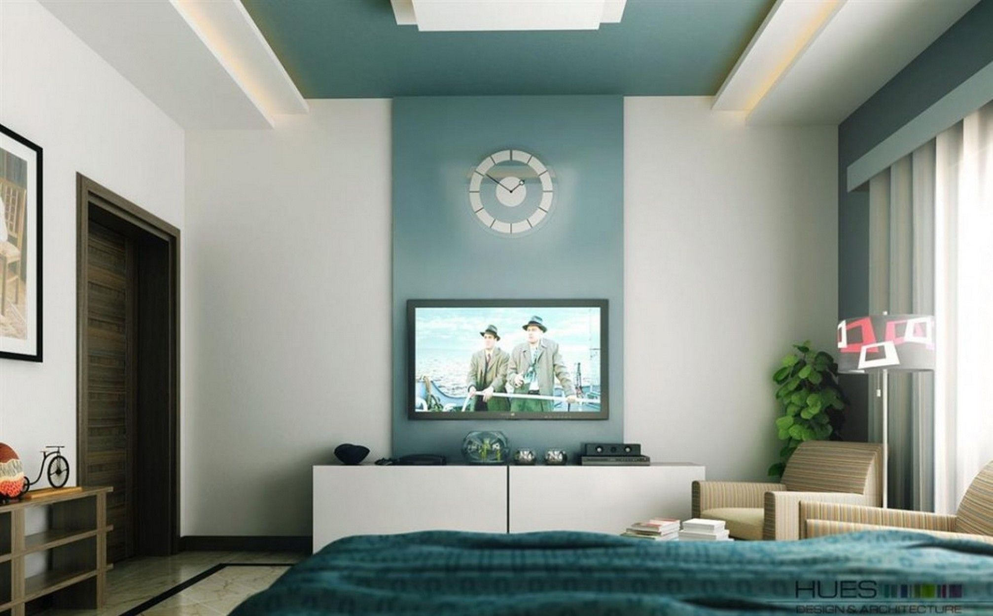 Accent Wall Color For High Walls With Round Clock Ideas And TV On