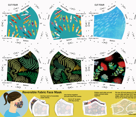 Photo of Colorful fabrics digitally printed by Spoonflower – Face Mask Sewing Pattern 2