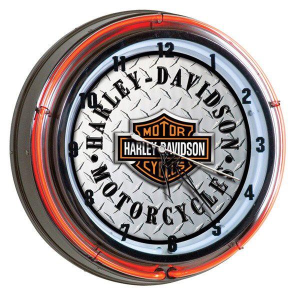 Harley Davidson Motorcycles Double Neon Clock