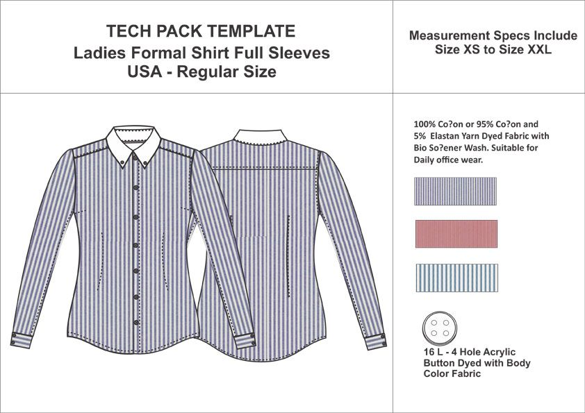 Tech Pack Template Ladies Full Sleeves Formal Shirt USA