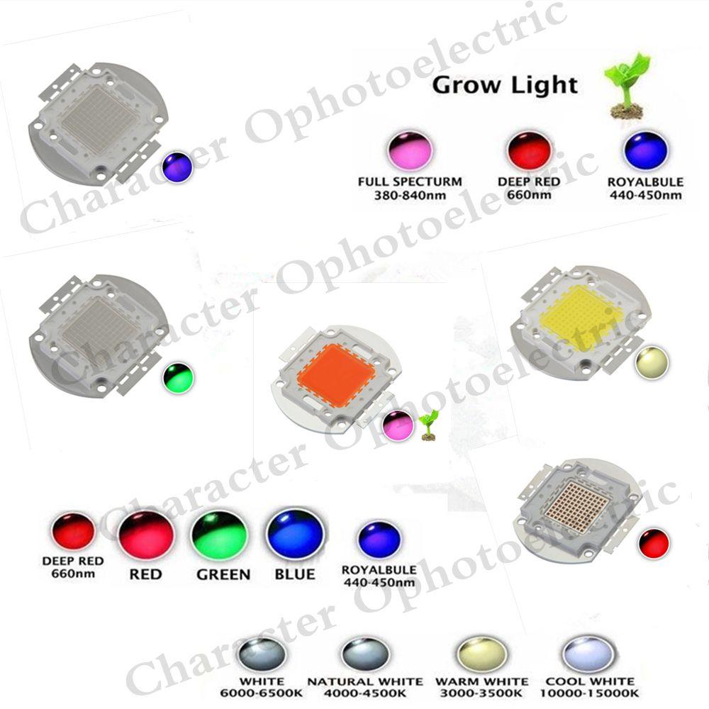 High Power Led Chip 100w Natural Cool Warm White Red Blue Green Uv Rgb Ir Full Spectrum 660nm 445nm Grow Light For Red Blue Green Power Led Light Accessories
