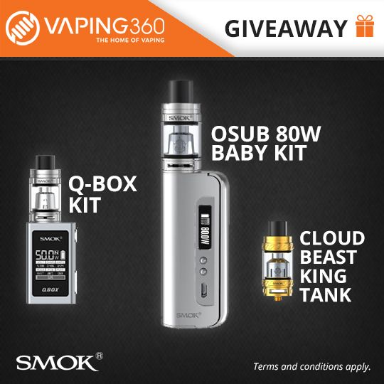 Smok q box kit osub baby kit and tfv12 tank giveaway projects to check out our vaping giveaways with some fantastic vaping related prizes up for grabs be sure to enter for the chance to win yourself some free vape gear solutioingenieria Gallery