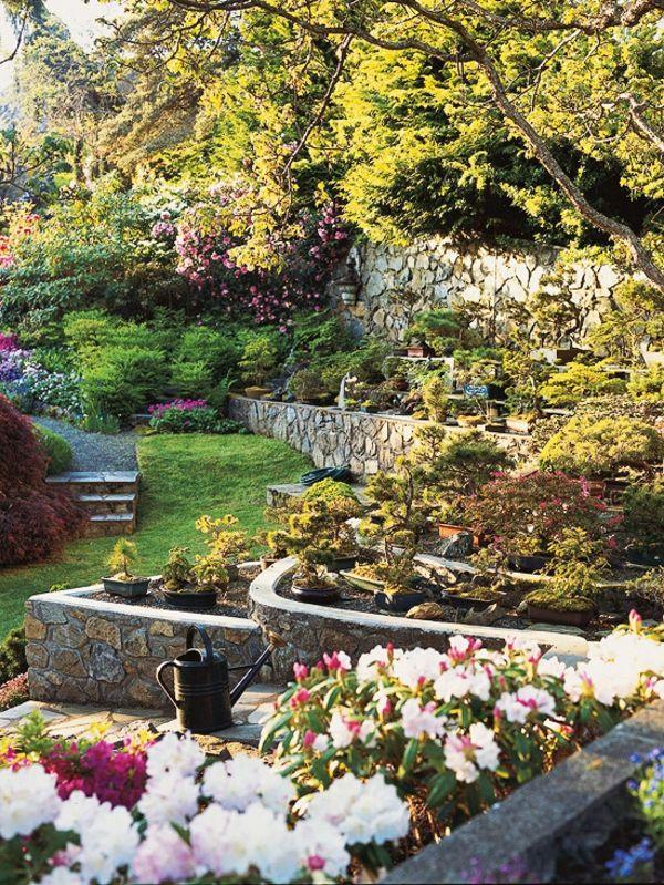Gartengestaltung Am Hang   Wie Können Sie Einen Hanggarten Gestalten |  Terraced Garden, Retaining Walls And Garten