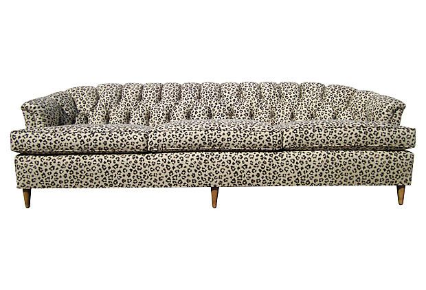 Tufted Leopard Print Linen Sofa On OneKingsLane.com