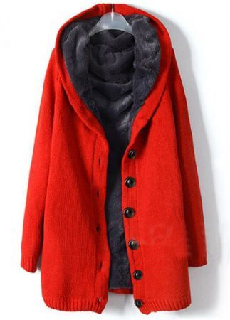 Red Hooded Long Sleeve Single Breasted Loose Coat - Sheinside.com ($50-100) - Svpply