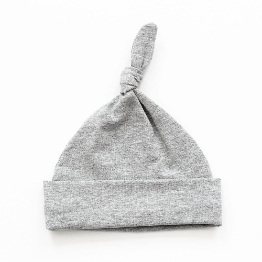 424323877f4 Plain marl grey knotted unisex gender neutral baby hat