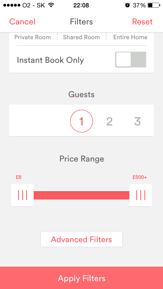 Air Bnb Filters Options Search Iphone Filters Airbnb Ios Application