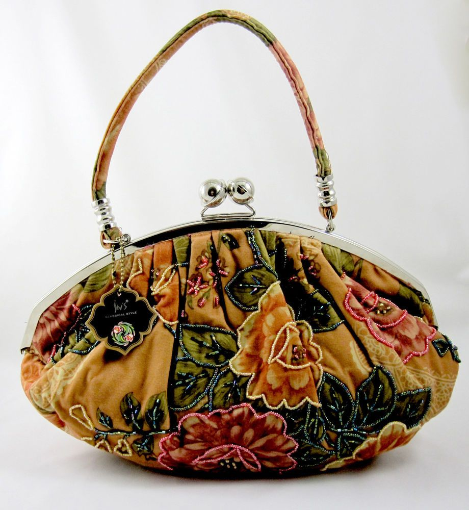 In's Classical Style Purse Handbag Beaded Copper Bronze