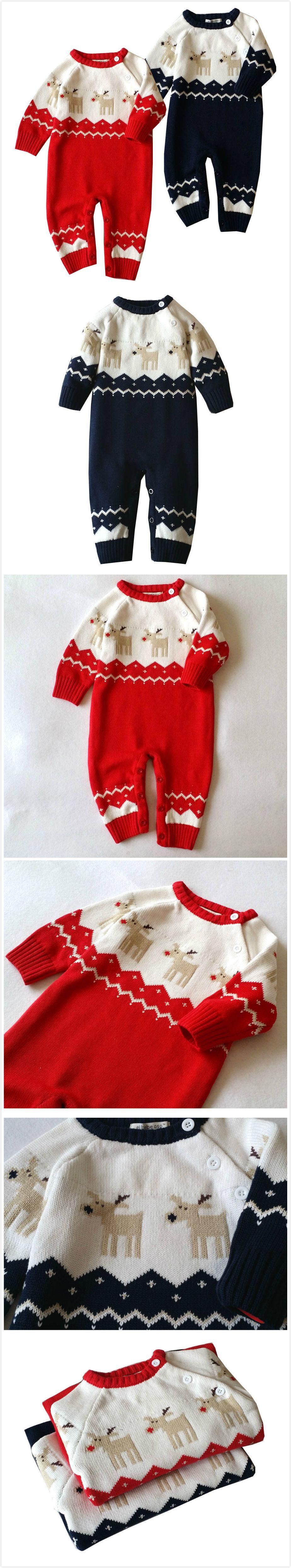 e52fc376b 2-Color Baby Christmas Elk Design Romper For Autumn