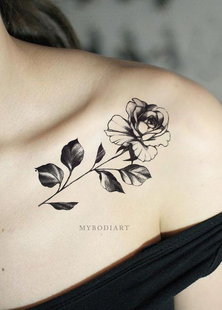 Chianne Black And White Single Rose Flower Temporary Tattoos Flower Tattoo Shoulder Yellow Rose Tattoos Chest Tattoos For Women