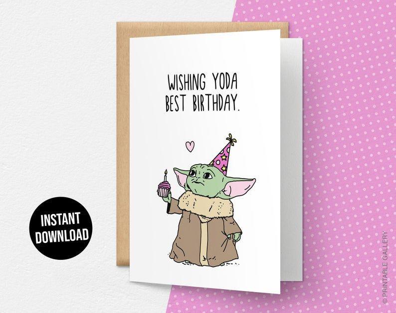 Wishing Yoda Best Birthday Card Funny Happy Birthday Card Baby Yoda Baby Birthday Card Funny Happy Birthday Card Funny Birthday Cards Happy Birthday Cards