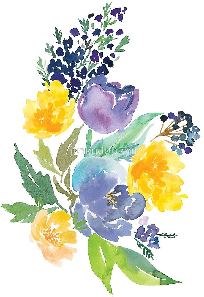 Blue Yellow Watercolor Flowers Watercolor Flowers Iris Painting