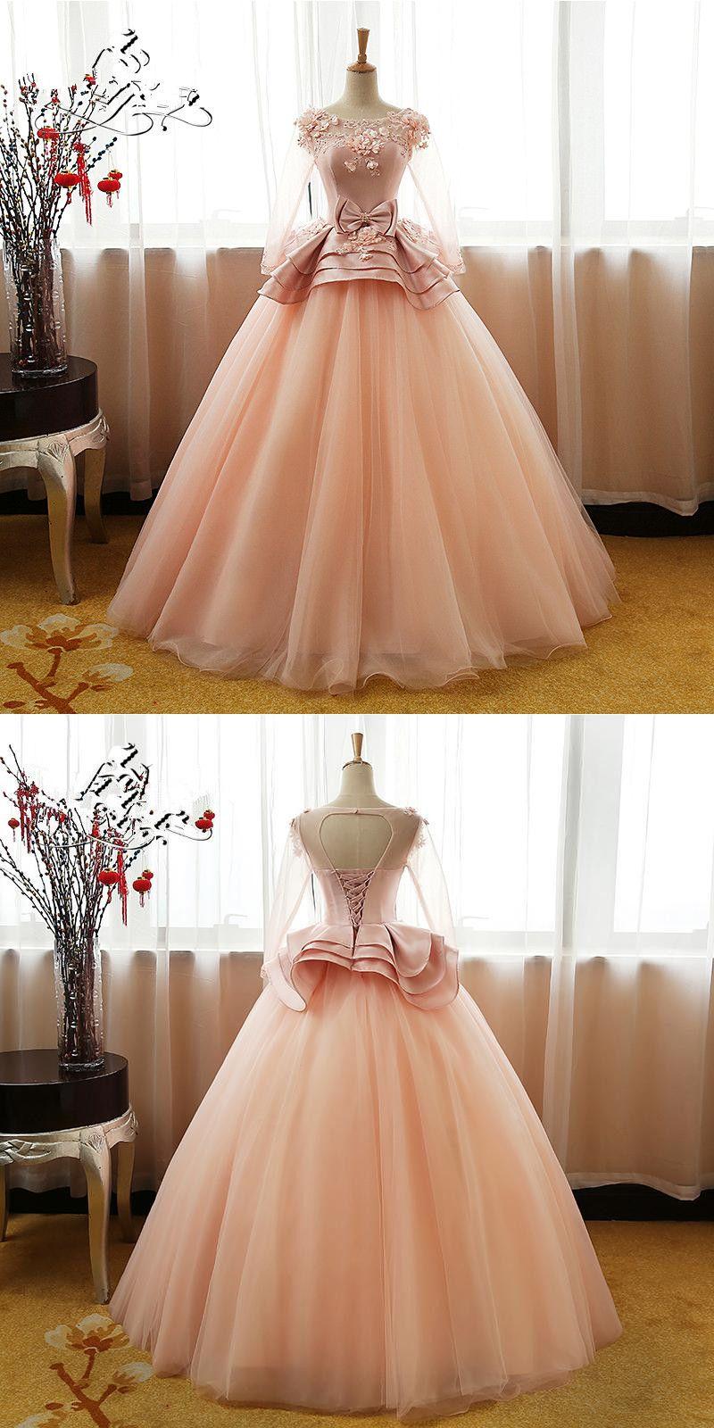 Customized delightful long sleeves prom dresses vintage flower long