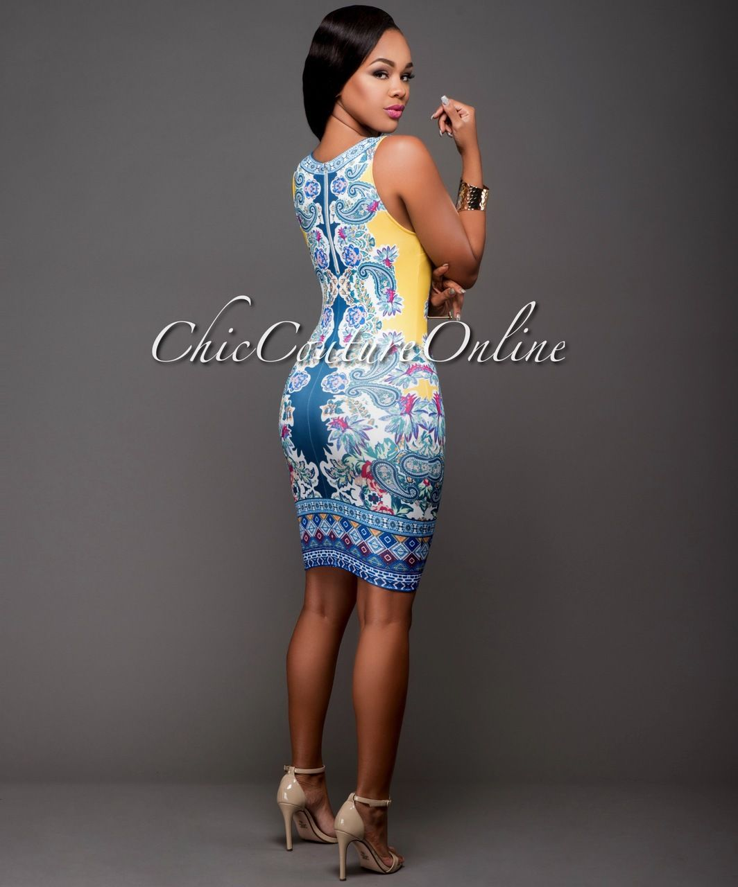 Chic couture online odelia yellow blue paisley print bodycon