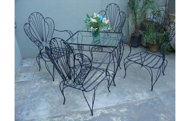 juego jardin hierro antiguo - 4 sillones y 1 mesa- alohá | Jardines ...