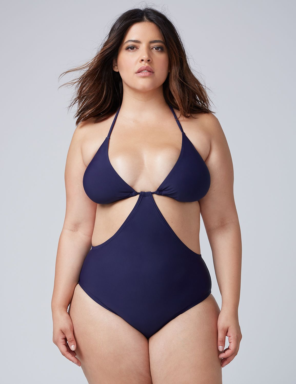 9a0d43be11ae4 Plus Size String Monokini One Piece Swimsuit, Full-figured Swimwear ...